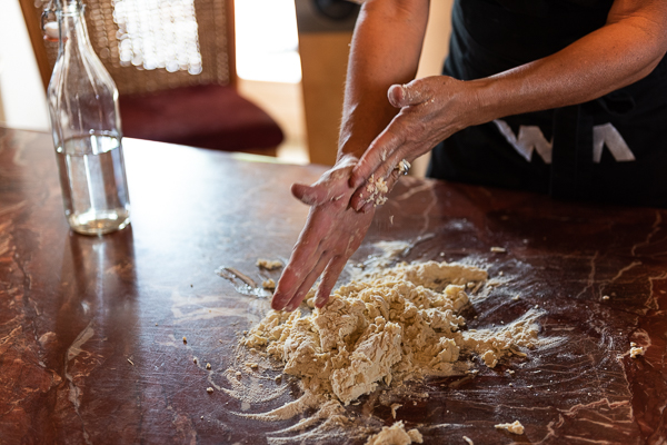 Making pasta at a private cooking class